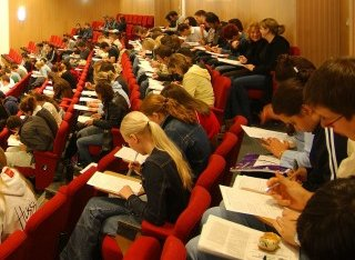 Stdients in lecture theatre in 2000s