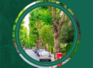 Green background with a circle in the middle showing a street with parked cars