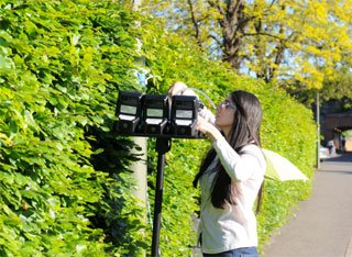 Woman testing air quality by hedge