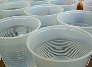 Plastic cups filled with water