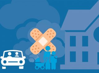 Illustration of a car with pollution and plaster over it with a family stood beside it