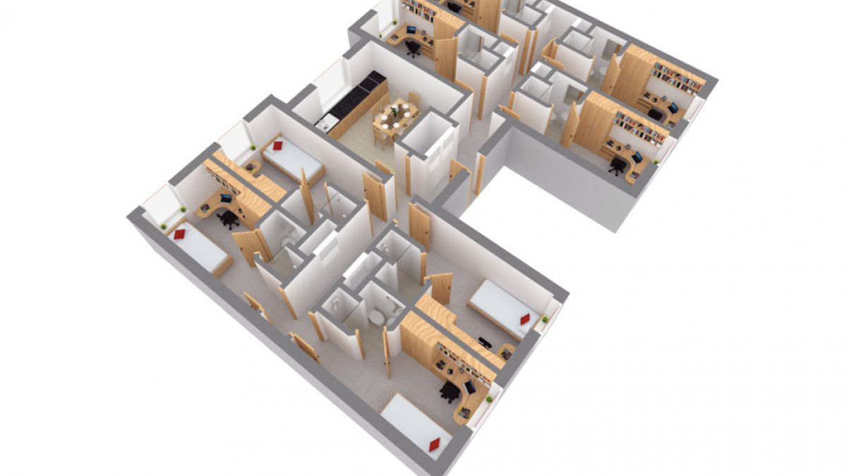 A floor plan of a Band D room