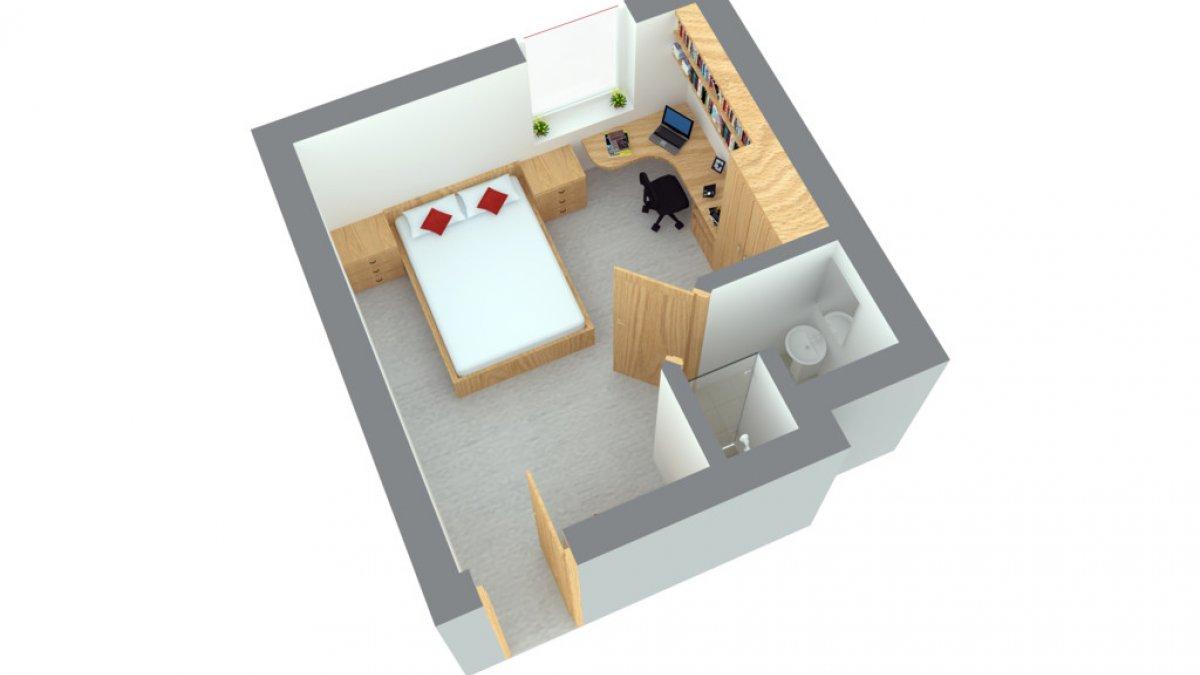A floor plan of Manor Park enhanced en-suite room