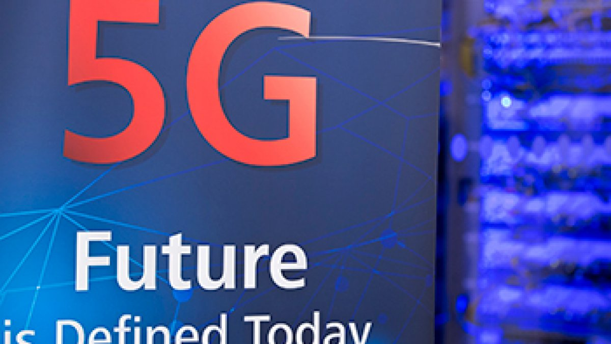 A sign saying '5G Future is defined today'