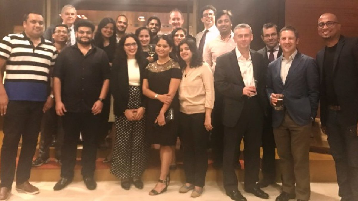 Group photo of Surrey alumni and staff in Mumbai in India