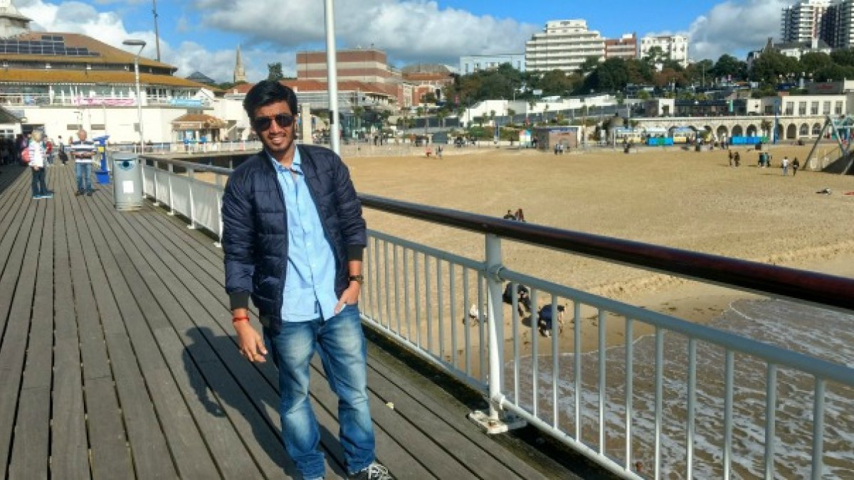 Bridge engineering student Siddharth on a pier