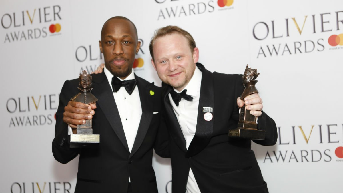 Giles Terera and Michael Jibson with their Olivier awards