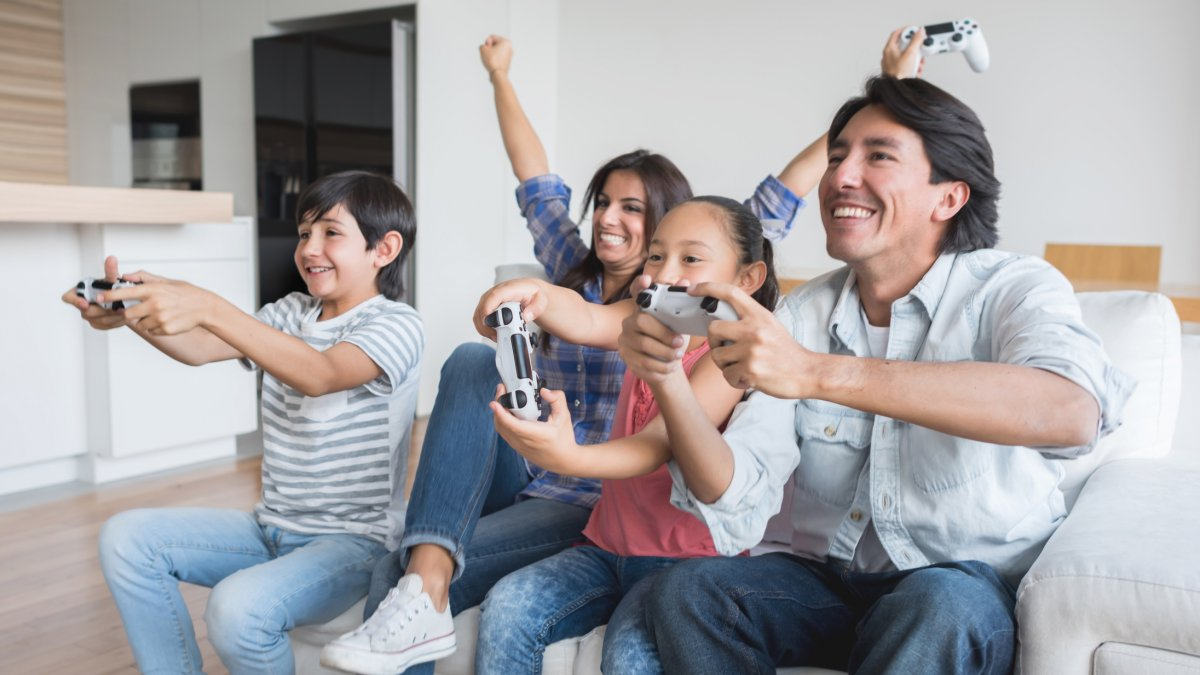 A family playing videogames together