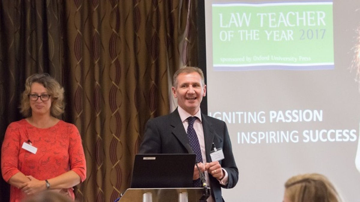 Nick Clapham speaking at law event