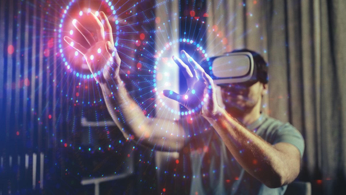 Stylised image of someone using a virtual reality headset