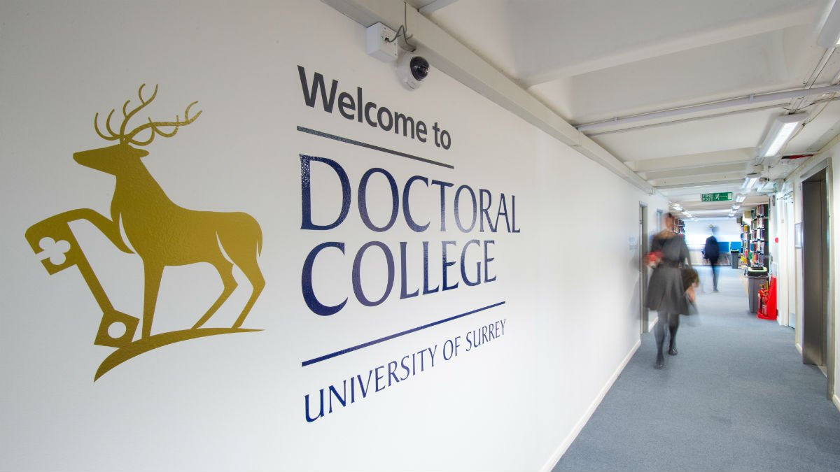 Doctoral College hallway at the University of Surrey