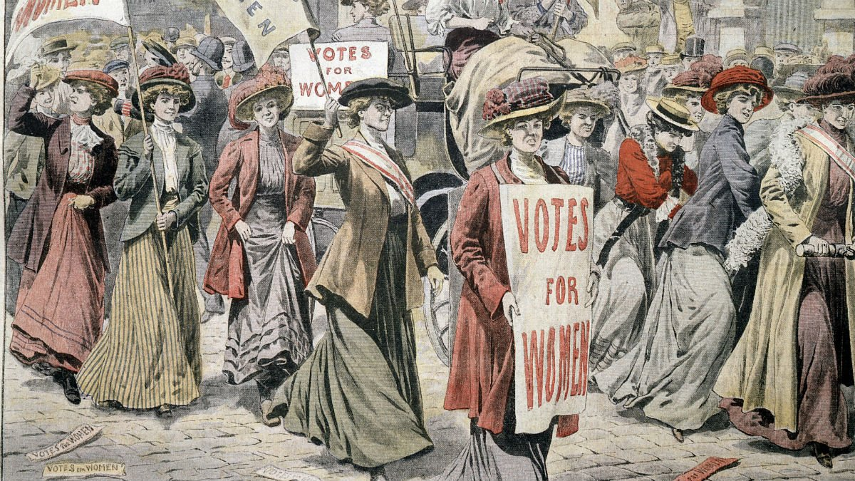 Image depicting the suffrage movement and women campaigning