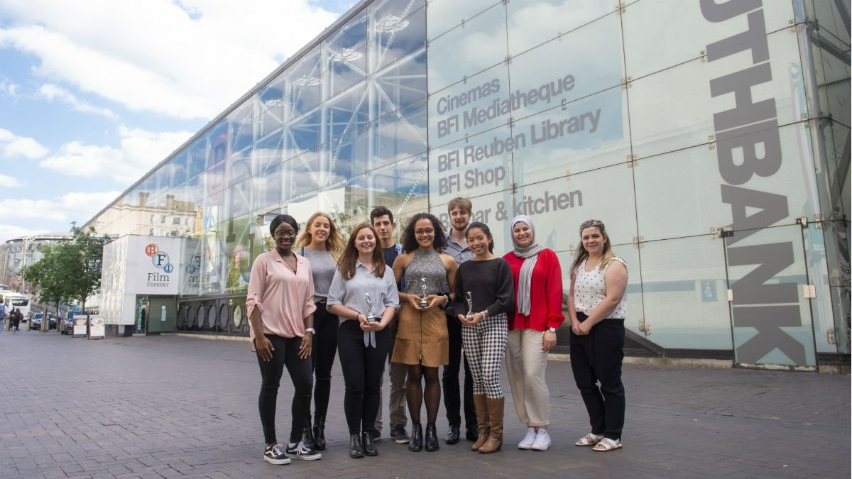 A group of University of Surrey students stood out the BFI building in London