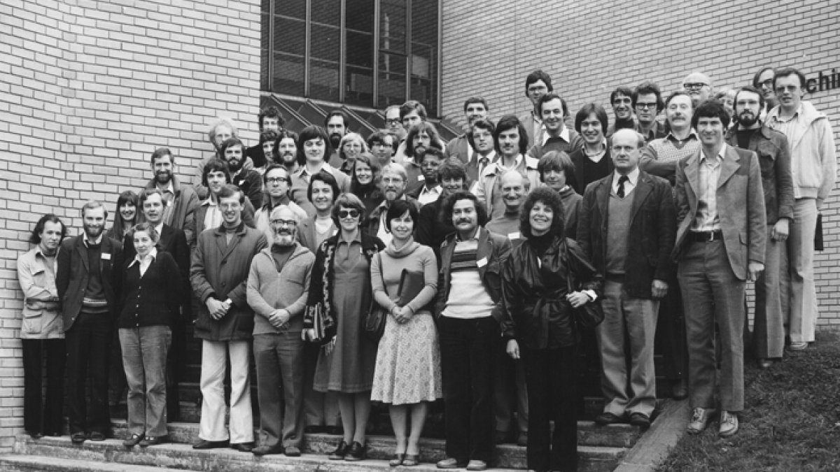 Professor Lewis Elton and new lecturers in 1979
