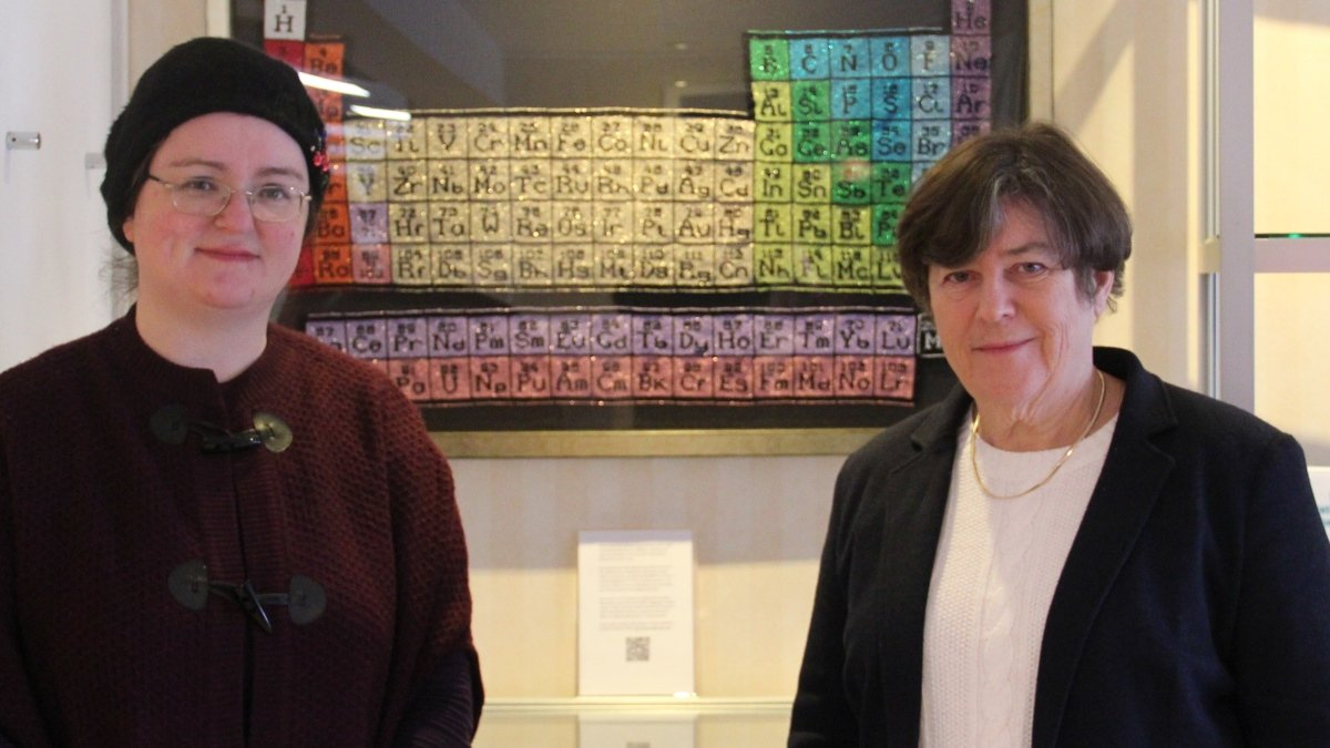 Jane Stewart and Professor Dulcie Mulholland with artwork