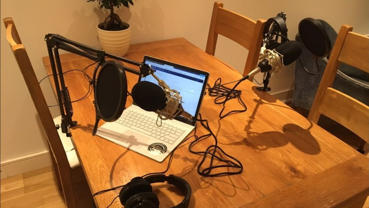 Recording equipment on desk