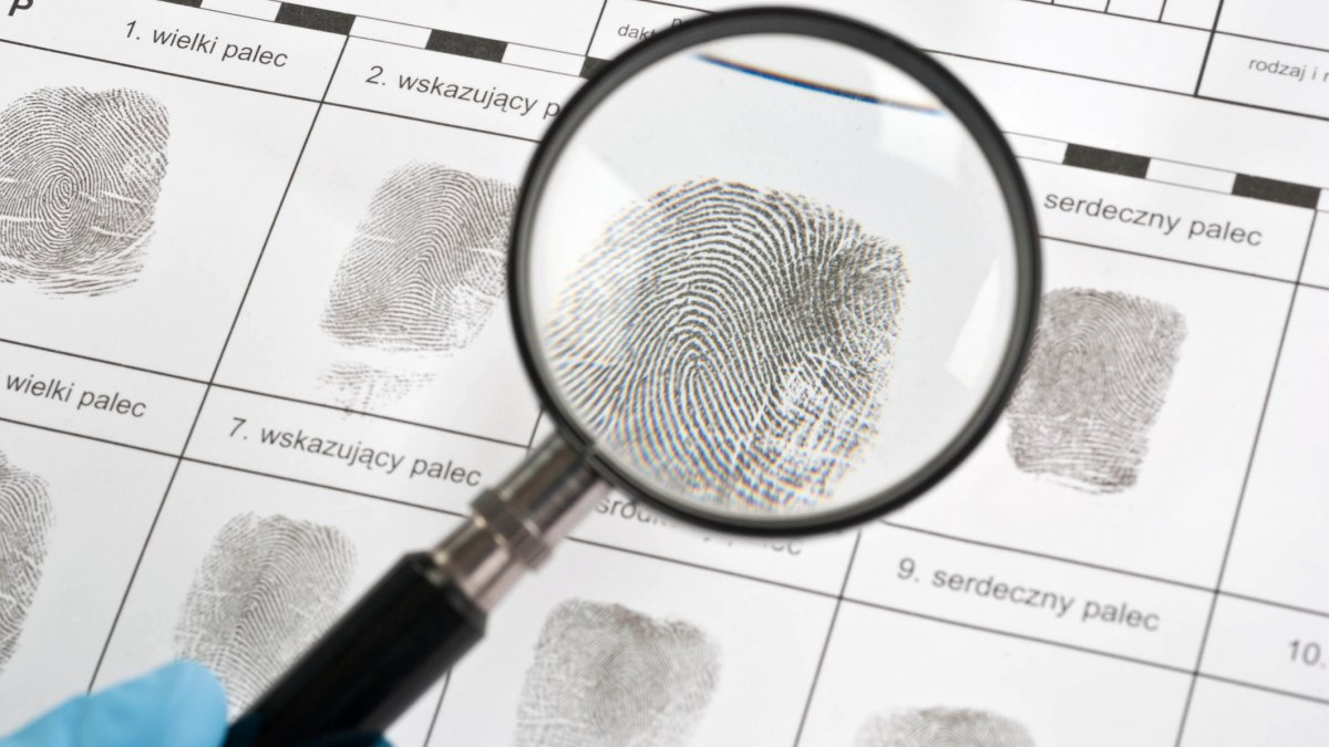 Fingerprints being analysed under a magnifying glass