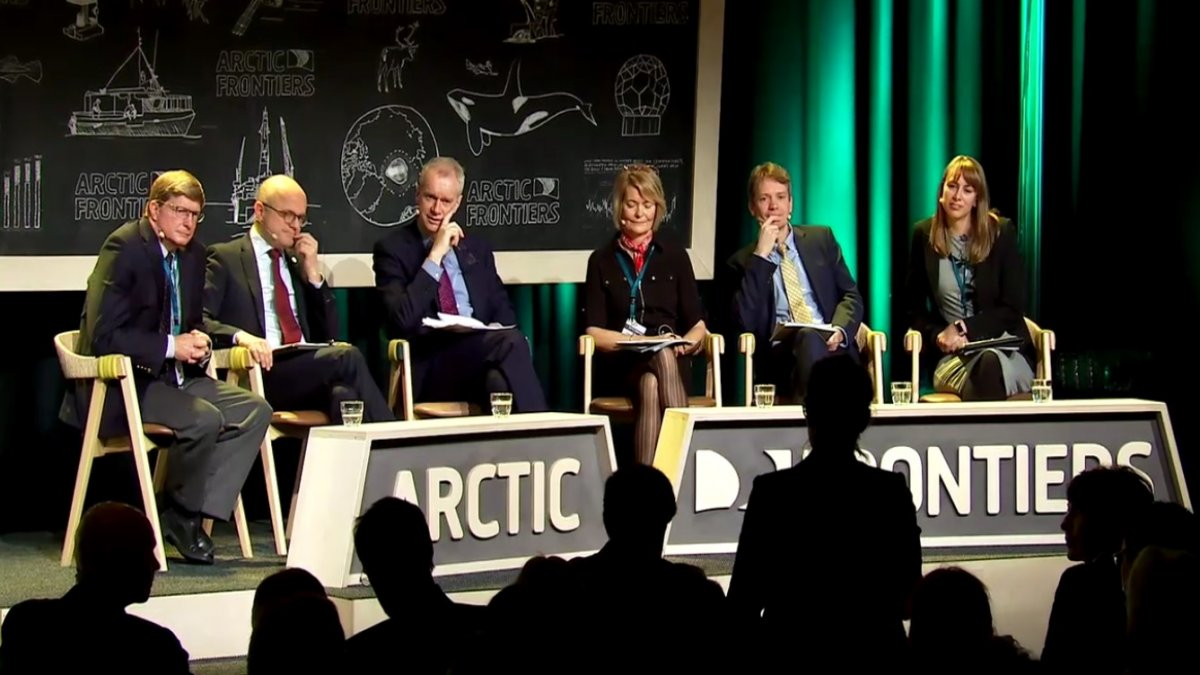 Part of a broadcasted panel discussion on 'Blue Growth Through Green Thinking' at the Arctic Frontiers Conference in 2019