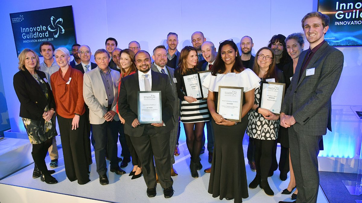 A group photo of the winners of the Guildford Innovation awards 2019