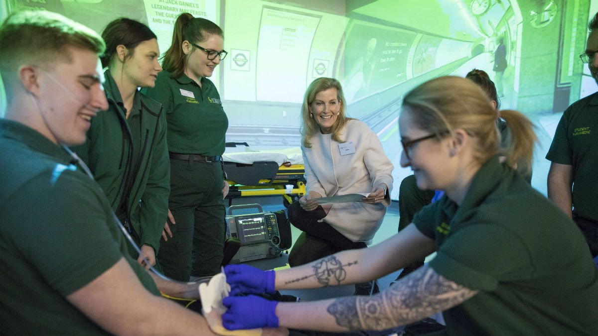 Her Royal Highness Sophie Wessex watches paramedic demonstration at University of Surrey