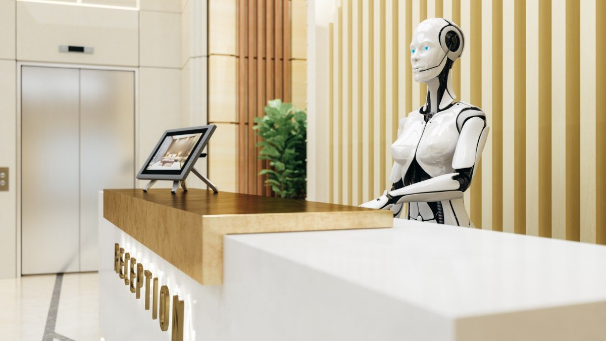A robot works on a hotel reception desk