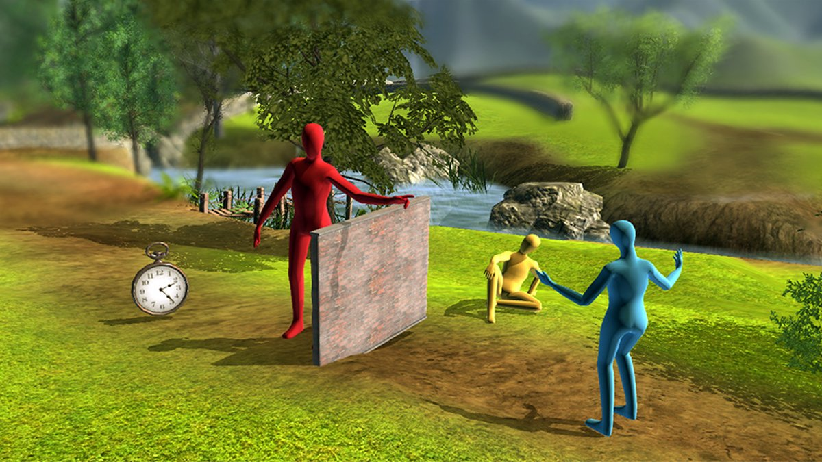 Avatars on a screen in a virtual reality world