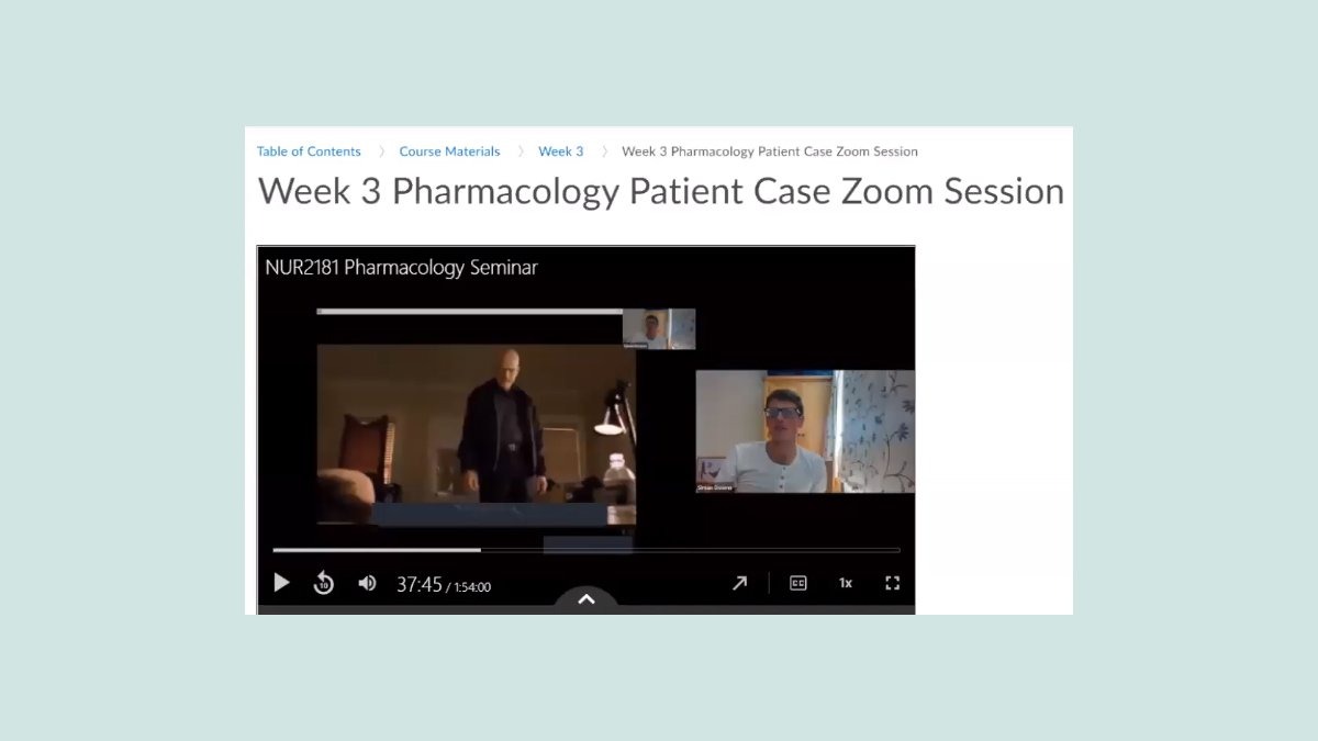 Screenshot of video playing during an online pharmacology lecture