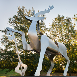 The stag statue on the University of Surrey campus