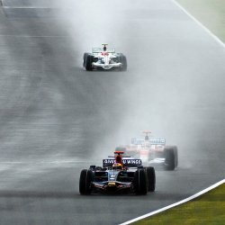Formula 1 racing in the rain